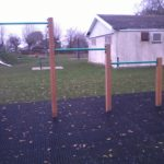 Photograph of static outdoor gym equipment