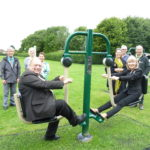 Photograph of Councillors at official opening of mobile outdoor gym equipment