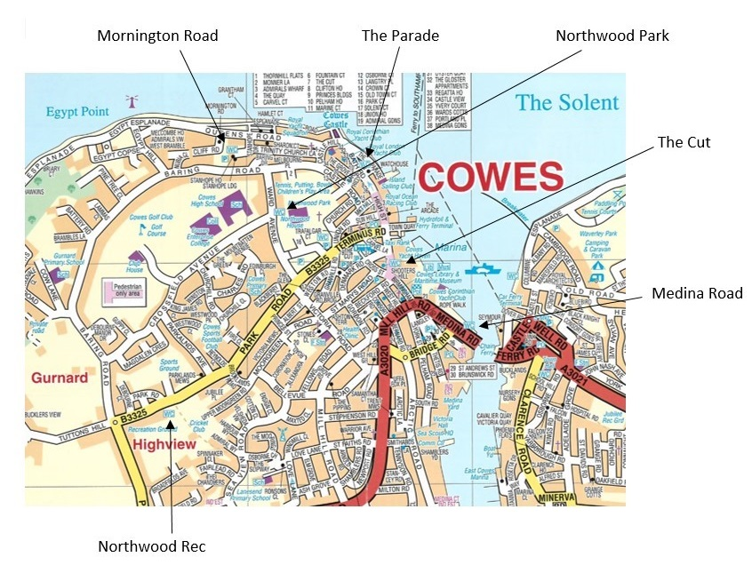 May of Cowes, including location of public conveniences