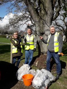 Photos shows volunteers and Councillors taking part in the Great British Spring Clean 2019