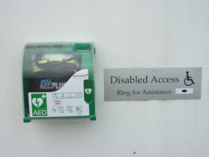 Photo of external defibrillator